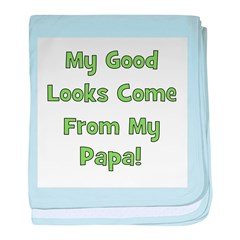 Good Looks From Papa - Green baby blanket