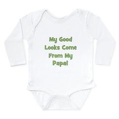 Good Looks From Papa - Green Long Sleeve Infant Bo