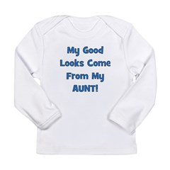 Good Looks From Aunt - Blue Long Sleeve Infant T-S