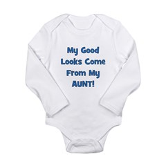 Good Looks From Aunt - Blue Long Sleeve Infant Bod