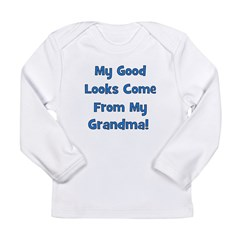 Good Looks from Grandma - Blu Long Sleeve Infant T