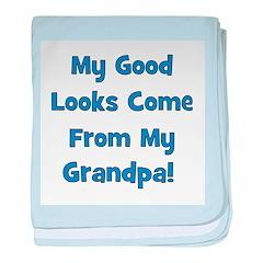 Good Looks From Grandpa - Blu baby blanket