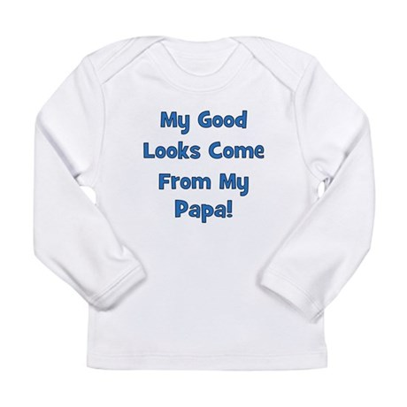 Good Looks From Papa - Blue Long Sleeve Infant T-S