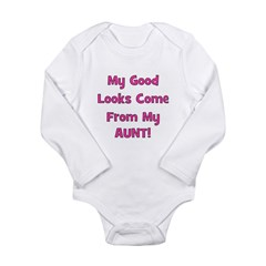 Good Looks From Aunt - Pink Long Sleeve Infant Bod