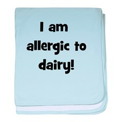 Allergic to Dairy - Black baby blanket