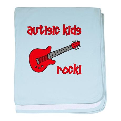 Autistic Kids Rock! Red Guit baby blanket
