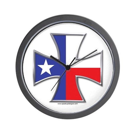 Texas Flag Iron Cross Wall Clock