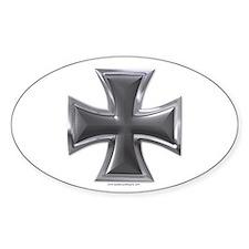 Black & Chrome Iron Cross Oval Decal