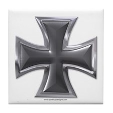 Black & Chrome Iron Cross Tile Coaster