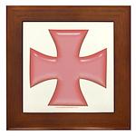 Pink Iron Cross Framed Tile