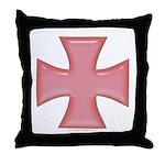 Pink Iron Cross Throw Pillow