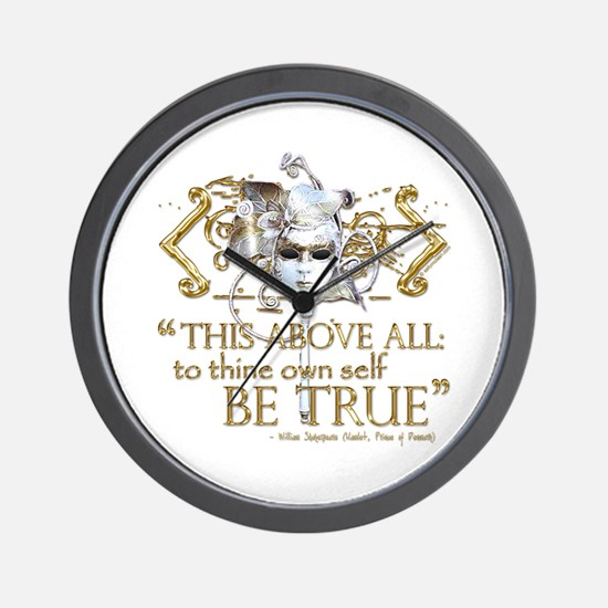 "Hamlet ""Be True"" Quote Wall Clock"