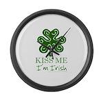 Kiss Me I'm Irish Large Wall Clock