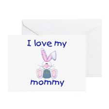 I love my mommy (boy bunny) Greeting Cards (Packag