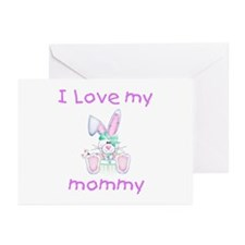 I love my mommy (girl bunny) Greeting Cards (Packa