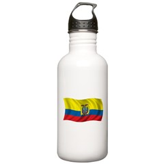 Wavy Ecuador Flag Water Bottle