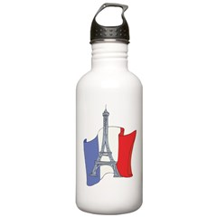 France Cartoon Flag Water Bottle
