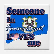 someone in connecticut loves me Tile Coaster