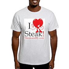 I Love Steak II Ash Grey T-Shirt