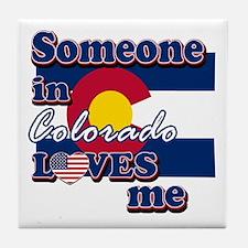 someone in colarado loves me Tile Coaster
