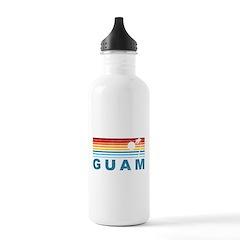 Retro Palm Tree Guam Water Bottle