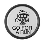 Keep Calm and Go For a Run Large Wall Clock