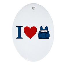 Castle I Heart Writer Vest Ornament (Oval)