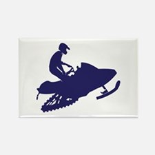 Snowmobiler in Navy Blue Rectangle Magnet