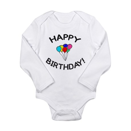 'Happy Birthday!' Long Sleeve Infant Bodysuit
