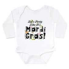 'Mardi Gras Party' Long Sleeve Infant Bodysuit