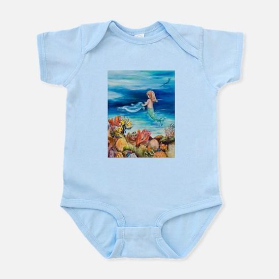 Mermaid and Dolphine meet Infant Bodysuit