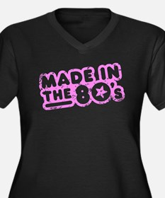 Made In The 80's Women's Plus Size V-Neck Dark T-S