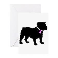 Bulldog Breast Cancer Support Greeting Card