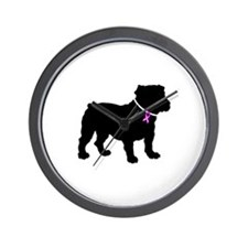 Bulldog Breast Cancer Support Wall Clock