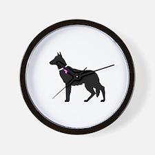 German Shepherd Breast Cancer Wall Clock