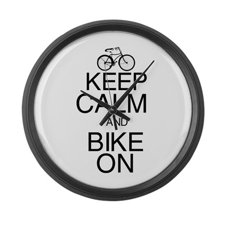 Keep Calm and Bike On Large Wall Clock