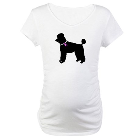 Poodle Breast Cancer Support Maternity T-Shirt