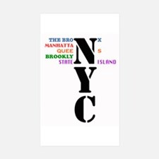 NYC Five Buroughs Sticker (Rectangle 10 pk)