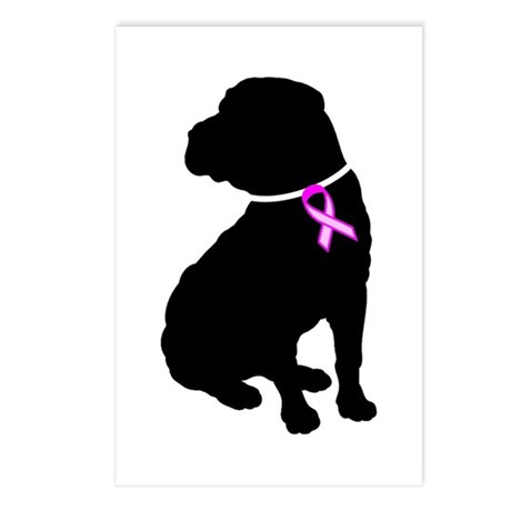 Shar Pei Breast Cancer Suppor Postcards (Package o