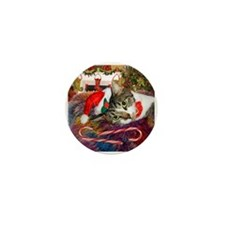 Candy Cane Cat Mini Button