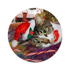 Candy Cane Cat Ornament (Round)