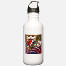 Candy Cane Cat Water Bottle