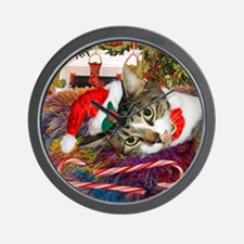 Candy Cane Cat Wall Clock