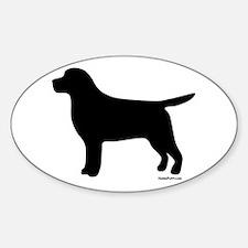 Black Lab Silhouette Sticker (Oval)