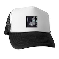 Pop Art Gray Long-haired Cat Trucker Hat