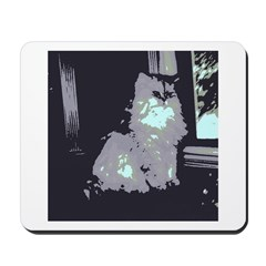 Pop Art Gray Long-haired Cat Mousepad