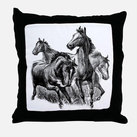 Wild Horses Illustration Throw Pillow