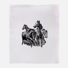 Wild Horses Illustration Throw Blanket