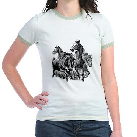 Wild Horses Illustration Jr. Ringer T-Shirt