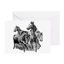 Wild Horses Illustration Greeting Card